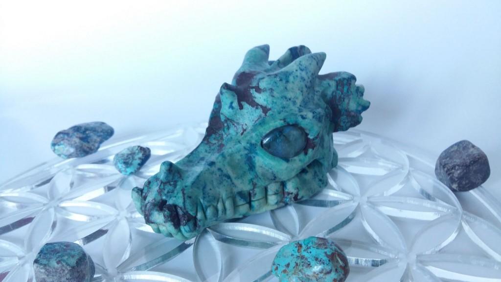 Chrysocolla drakenschedel 13 cm - Lichtkracht Academie