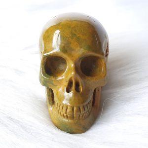 Oceaan jaspis skull 5 cm hoog 92 gram - De Lichtkracht Academie.