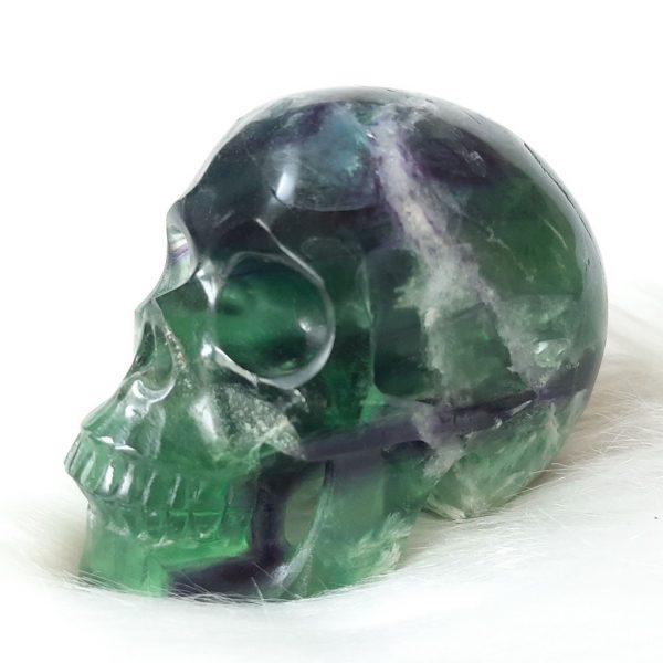 Groene fluorietskull 10 cm - De Lichtkracht Academie - https://fannyvanderhorst.nl/