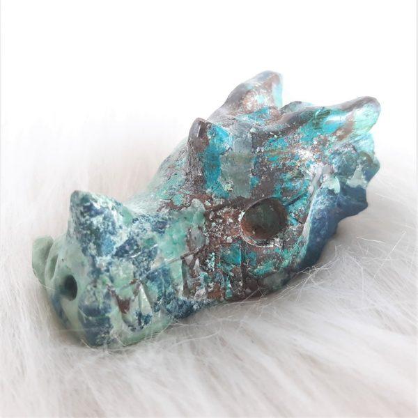 Chrysocolladraakje cm - De Lichtkracht Academie - https://fannyvanderhorst.nl/portfolio/kristallen-schedels-en-draken/