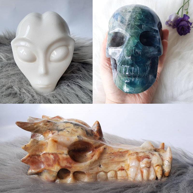 Kristallen skulls en draken als helper