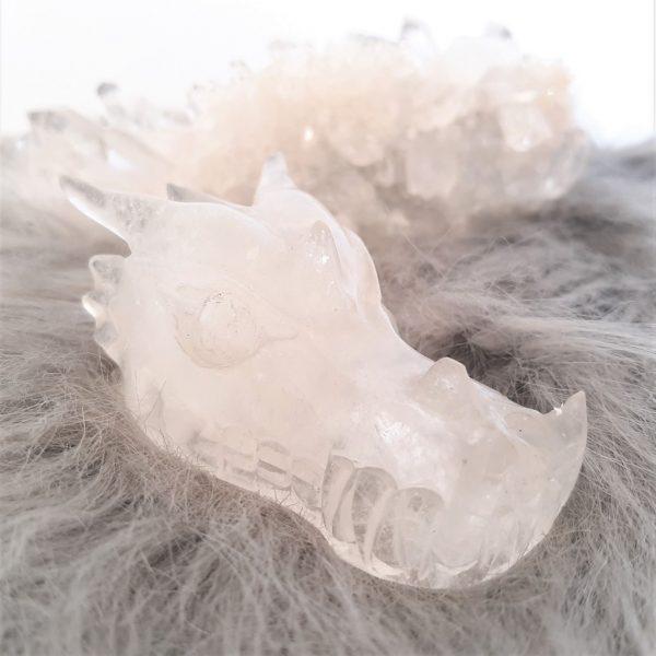 Bergkristal drakenschedel 7.5 cm - De Lichtkracht Academie - fannyvanderhorst.nl