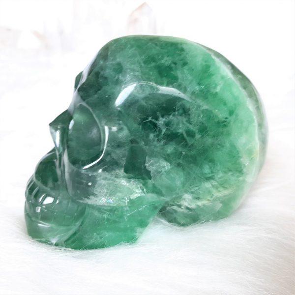Kristallen schedel groene fluoriet - De Lichtkracht Academie - fannyvanderhorst.nl